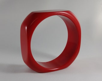 Vintage Red Lucite Bangle - Square Plastic Bracelet - 1960's-70's