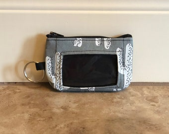 ID Wallet, Keychain, Coin Purse - Slate Gray Cactus with Black