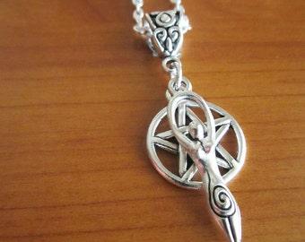 Necklace pentacle pendant, Mother Goddess pendant, celtic pagan handmade