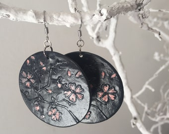 Earrings in Polymer clay ~ Cherry blossom ~ gift for girls ~ Polymer Clay Earrings ~ Cherry blossom