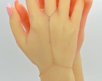 Cz Bracelet, Dainty Chain Bracelet, Finger Bracelet, Slave Bracelet, Chain Hand Bracelet, Gold, Silver, Rose Gold Finger Bracelet