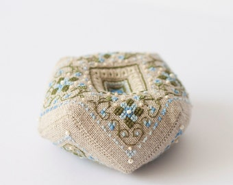 Pin cushion  biscornu with cross stitch flowers