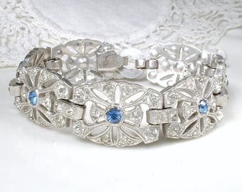ANTIQUE Art Deco Sapphire Bracelet, Pave Rhinestone WIDE Link Bridal, Silver Navy Crystal Something Old Blue 1920s Great Gatsby Flapper 1930