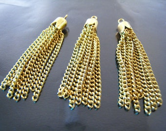 Finding - 8 pcs of Gold Plated Tassel Charms ( 44mm in length )