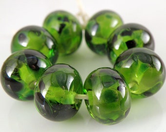 Emerald Waters SRA Lampwork Handmade Artisan Glass Donut/Round Beads Made to Order Set of 8 8x12mm