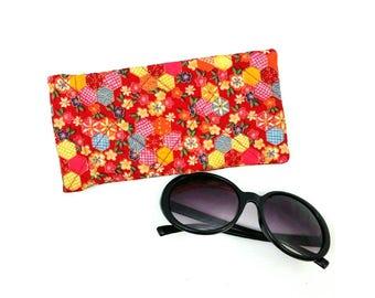 Sunglasses case glasses case glasses pouches sunglasses cover sunglasses slip case sunglasses storage glasses case red glasses case quilted