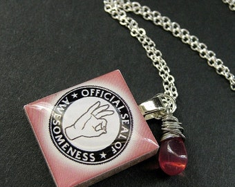 MOTHERS DAY SALE Scrabble Tile Necklace. Seal of Awesomeness Charm Necklace with Pink Teardrop. Handmade Jewelry.