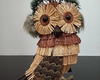 Wicker and fabric owl with ear muffs