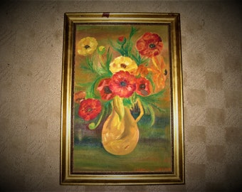 Signed Vintage Outsider Art Floral Painting, Colorful poppies in Vase, 70's