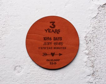 Leather Anniversary Gift, 3rd year anniversary gift, Leather Coasters, 3 year anniversary, Personalise it, Personalised gifts, Leather Gift
