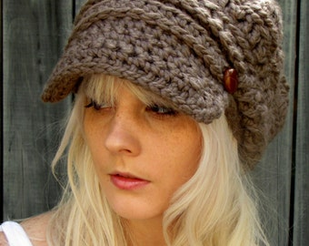 Newsboy Slouchy Hat Crochet Beanie Hat Two Leather Button Band Slouchy Wool Cap Womens Hat Tam Mortar or CHOOSE Your Color