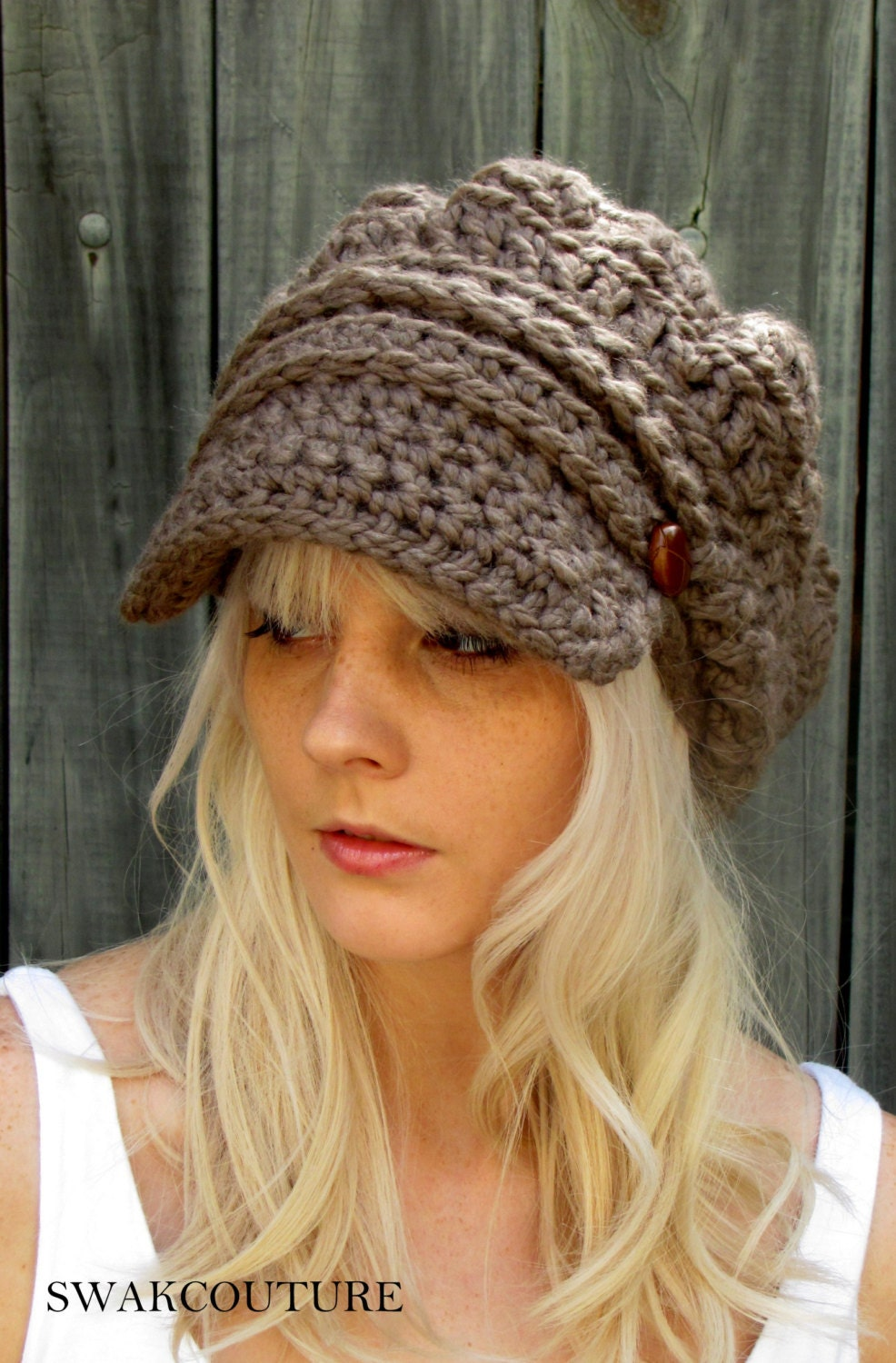 Newsboy slouchy hat crochet beanie hat two leather button band zoom bankloansurffo Gallery