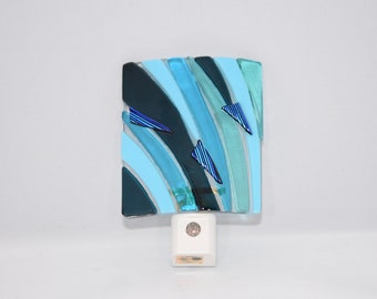 Fused Glass Night Light, Aqua and Seaside Blues with Dichroic