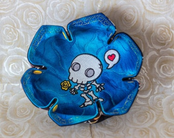 Valentine Embroidered Chibi Muertos, Love Skeleton on Blue Katch-All Small Lotus Hex