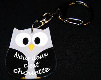 """Black OWL Keychain with message """"We're nice"""""""