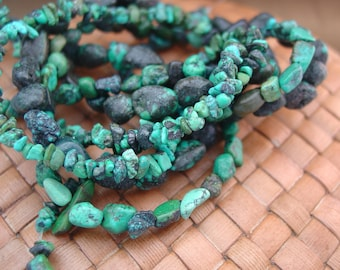 SALE:  3 x 15 in strands Turquoise Chip and Pebble Sized Beads - 25% Off
