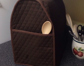 Brown Mixer Cover with Pocket Small Appliance Covers Kitchen Storage Home Decor Quilted Fabric Dust Covers Ready to Ship