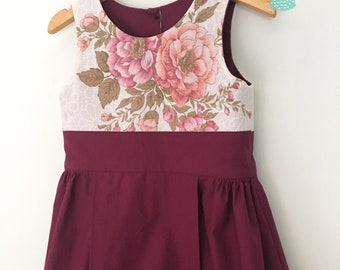 Size 5 floral shift dress in Plum