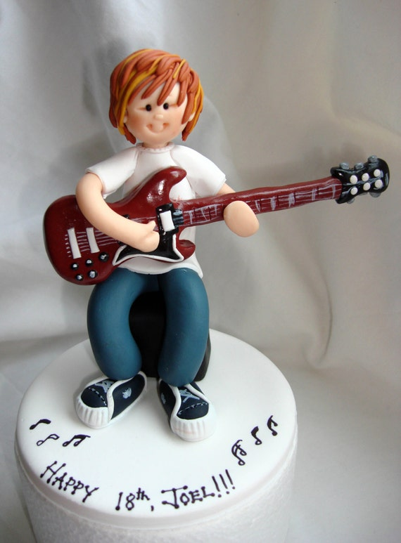 wedding cake topper man with guitar items similar to guitar player musician birthday cake 26352