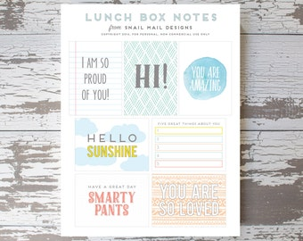 Printable Lunch Box Notes  (Digital File Only)