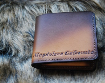 Veg Tanned leather Bifold wallet, name or initials, Natural brown tan leather ,light/Dark brown,Handtoled ,classic bifold, for her,for him,