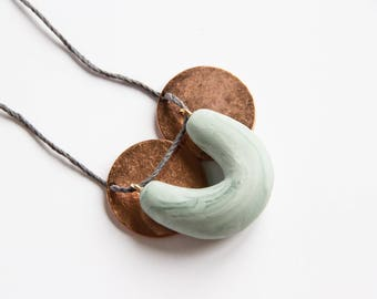 Olive Polymer Clay + Metal Disc Necklace
