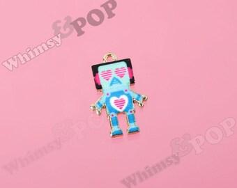 1 - Gold Tone Retro Man Robot Nerd Geek Love Robot Charms, Robot Charm, 22mm x 14mm (R8-172)