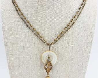 Antique Mother of Pearl Button Pendant Necklace