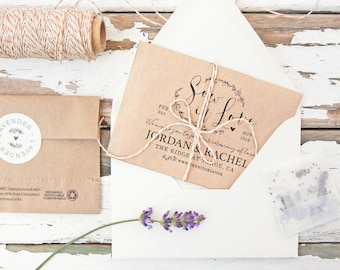 Wedding Seed Invitations - Sow in Love - Seeds Included - Wildflower or Lavender - 30 Packets or more