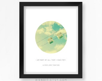 I am Part of All That I Have Met, Poetry, Alfred Lord Tennyson, Quote Print, Typography, Skyscape, Inspirational Quote, Minimalist Art