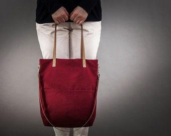 Canvas bag, dark red, Crossbody, outside pocket, leather straps, canvas, tote bag, handbag, shopping bag, shoulder bag, day bag, Medium, Ida