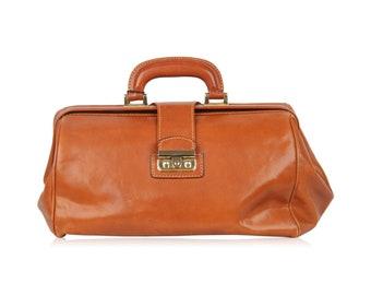 Authentic VINTAGE Light Brown Leather DOCTOR BAG Handbag