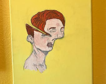 Painting of man with stretched face
