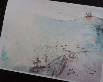 """Reproduction of an illustration (drawing, watercolor, ink) - Print - watercolor - A4 size - """"the boat and sea"""""""
