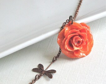 Real Rose Necklace - Orange, Natural Preserved, Dragonfly, Copper, Flower Jewelry