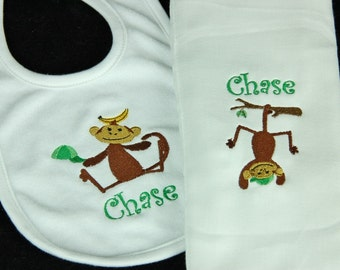 Personalized Baby Burpcloth and Bib Set with Monkey Design