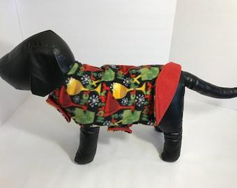 Dog Coat Reversible Fleece Dog Coats  Martini Glass Holiday Print Warm Dog Coat Handmade Dog Jacket by Simply B Vermont