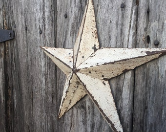 White Barn Star Decoration- 12 inch metal shelf or wall hanging star made from white reclaimed metal