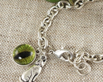 Bracelet Olive Green Cat Eye (#6554)