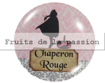 1 cabochon 25mm round glass, tales, fairy tale