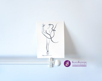 BALLERINA SKETCH print, abstract ballet sketch, minimal charcoal ballet art, ballerina line art, ballet print, ink black white wall art