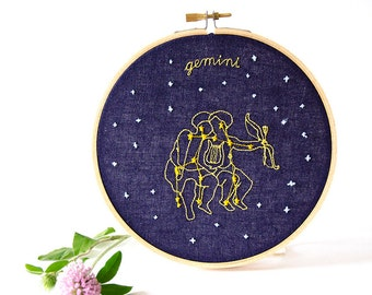 Gemini  (May 21 - June 20) zodiac embroidery