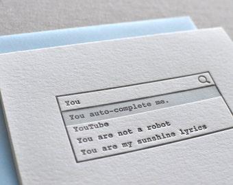 You Auto-Complete Me Letterpress Card & Envelope