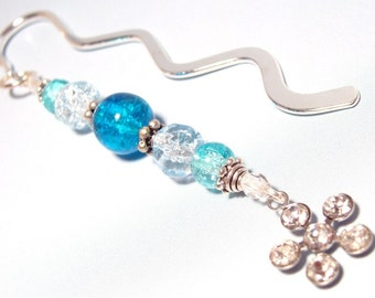 Blue Aqua Glass Bookmark with Crystal Flower