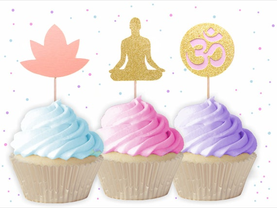 Mixed Yoga Cupcake Toppers Yoga Cake Toppers Yoga Party