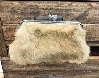 Tan Rabbit Fur Clutch / Evening Bag