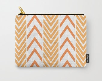 Orange Make-up Bag - Orange and White - Carry All Pouch- Toiletry Bag - Change Purse - Organizing Bag - Made to Order