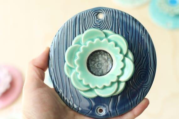 aqua and blue porcelain hook