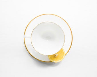 Mid Century Modern Porcelain Tea Cup and Saucer Set // Rosenthal Coffee Service