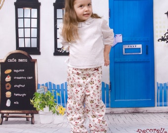 """Baby trousers in white cotton printed """"flower"""""""